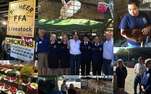 President Clyde, Sean Kolb & Kris Kristensen get a tour of projects and activities by the Yolo FFA high school students at the Yolo County Fair.