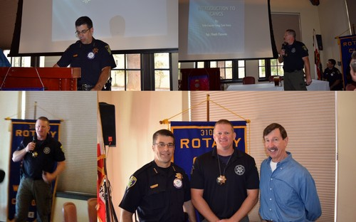GANG PROGRAM - Woodland Police Sergeant Heath Parsons, assigned to the Yolo County Gang Task Force, was our guest speaker at today's meeting giving us a program on the history and characteristics of gang activity nationally and locally. Heath was introduced by Chief Dan Bellini.